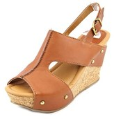 Kenneth Cole Reaction Sole-o Women Open Toe Leather Brown Wedge Sandal.