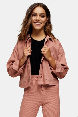 Topshop Womens Petite Considered Pink Boxy Crop Shacket - Pink