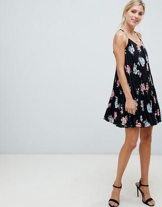 ASOS DESIGN pleated swing mini cami dress in floral print