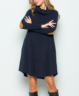 Sweet Pea Black Contrast-Patch Sweater Shift Dress