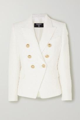 Balmain Double-breasted Boucle-tweed Blazer - White