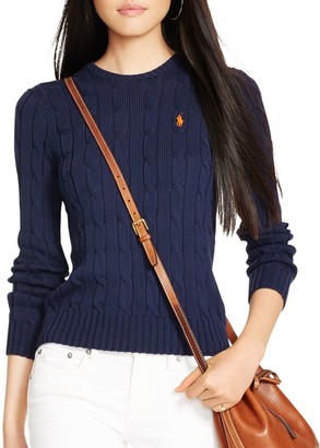 Ralph Lauren Polo Cable-Knit Cotton Jumper, Hunter Navy