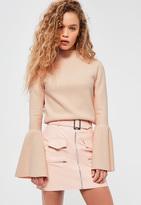 Missguided Nude High Neck Ribbed Flared Sleeve Top