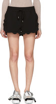 Carven Black Drawstring Ruffle Shorts