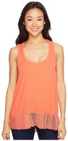 Dylan by True Grit - Soft Slub Knit Tank Top with Lace Rib Border Women's Sleeveless