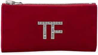 Tom Ford Velvet Clutch Bag with Crystal TF Logo