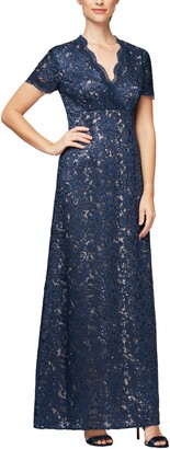 Alex Evenings Short Sleeve Embellished A-Line Gown