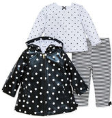 Little Me Baby Girls Three-Piece Dot Printed Jacket, Top and Striped Pants Set