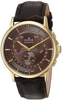 Edox Men's 'Les Bemonts' Swiss Quartz Stainless Steel and Leather Dress Watch, Color:Brown (Model: 01602 37J BRID)
