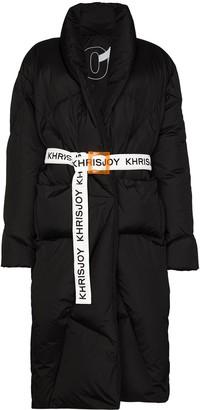 KHRISJOY Contrast-Belt Mid-Length Puffer Coat