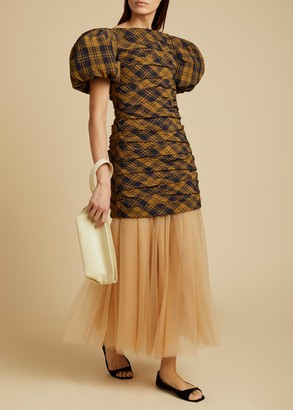 KHAITE The Shelly Dress with Petticoat in Brown Check