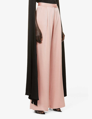 Alex Perry Hartley flared high-rise satin trousers