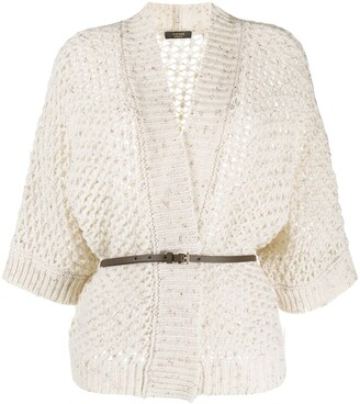 Peserico Belted Open-Knit Cardigan