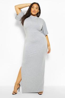 boohoo Plus High Neck Maxi Dress