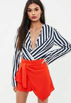 Missguided White Striped Wrap Front Bodysuit