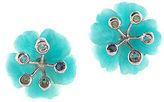 Designer Blue Amazonite Peridot Amethyst Topaz Sterling Silver Stud Earrings New