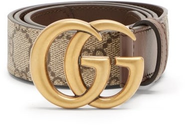 Gucci GG Marmont Supreme And Leather Belt - Brown Multi