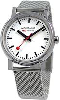 Mondaine A6583030011sbv Unisex Evo Quartz Stainless Steel Bracelet Strap Watch, Silver/white