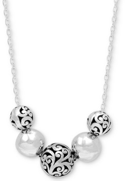 "Lois Hill Filigree & Polished Bead Statement Necklace in Sterling Silver, 16"" + 2"" extender"
