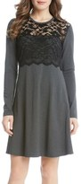 Karen Kane Women's Lace Overlay A-Line Dress