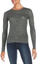 Frame Printed Linen-Jersey Top