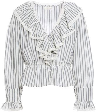 LoveShackFancy Lace-trimmed Ruffled Striped Cotton-gauze Top