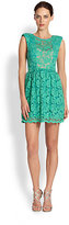 ABS by Allen Schwartz Sheer-Paneled Lace Dress