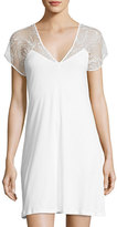 Hanro Ana Cotton Lace-Yoke Nightgown, White