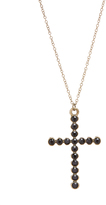Carole Black Crystal & Stainless Steel Thin Cross Pendant Necklace