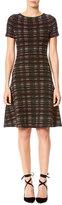 Carolina Herrera Short-Sleeve Tweed A-Line Dress