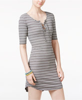 Ultra Flirt Juniors' Striped Lace-Up T-Shirt Dress