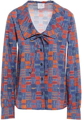 Stella Jean Bow-detailed Printed Cotton-poplin Shirt