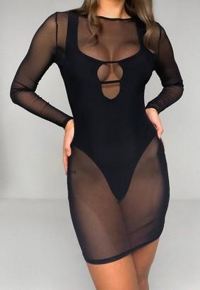 Missguided Black Mesh Crew Neck Mini Dress