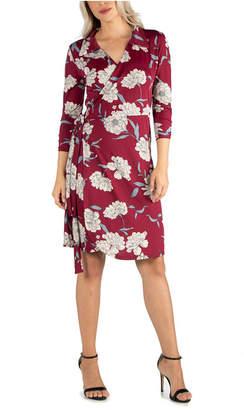 24seven Comfort Apparel Women Collared Burgundy Wrap Dress