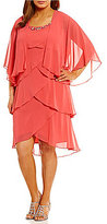 S.L. Fashions Plus Beaded-Neck Tiered Jacket Dress