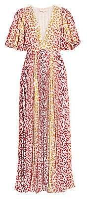 Rococo Sand Women's Avana Leopard Print Pleated Maxi Dress