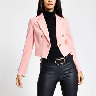 River Island Womens Pink button cropped blazer