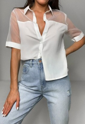 Missguided Organza Panel Boxy Cropped Shirt