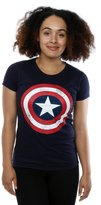 Marvel Women's Captain America Distressed Shield T-Shirt Navy