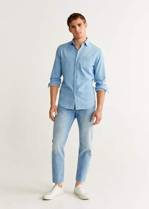 MANGO Slim fit herringbone shirt