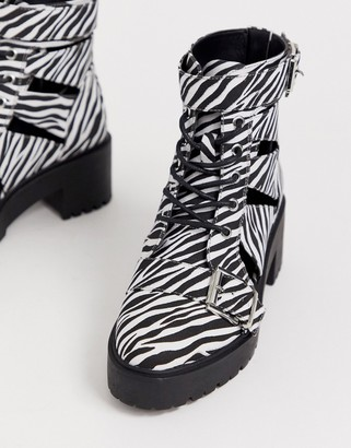 Asos Design DESIGN Rion chunky cut out boots in zebra-Multi