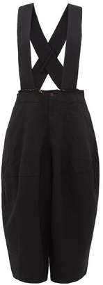 Comme des Garcons Cropped Leg Twill Dungarees - Womens - Black