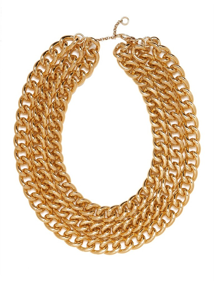 BaubleBar Gold Triple Chain Necklace
