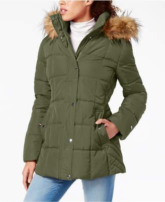 Tommy Hilfiger Hooded Faux-Fur-Trim Puffer Coat