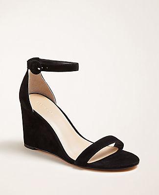 Ann Taylor Brett Suede Wedge Sandals