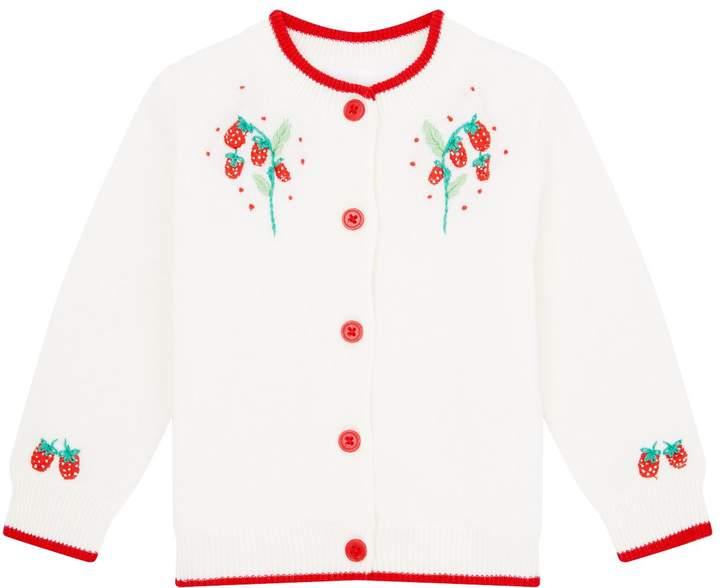 Rachel Riley Strawberry Embroidered Cardigan