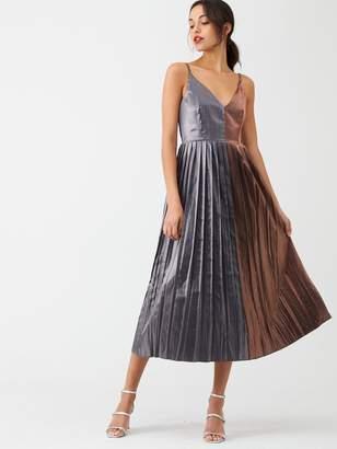 Little Mistress Gunmetal Pleated Midi Dress - Copper