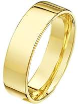 Theia Unisex Heavy Flat Court Shape Polished 18 ct Yellow Gold 6 mm Wedding Ring - Size Q
