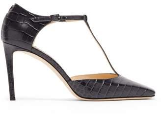 Jimmy Choo Lexica Mary Jane Crocodile Effect Leather Pumps - Womens - Dark Grey