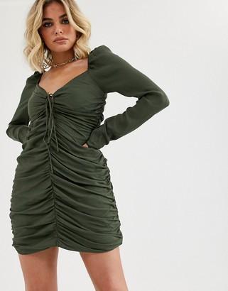 Vestire point break ruched bodycon mini dress-Green